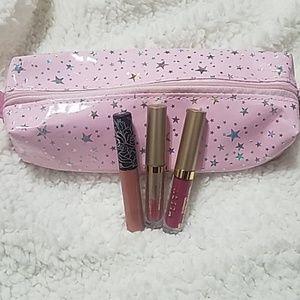 3 liquid lipsticks & make up bag